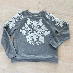Gray H&M sweatshirt with floral embroidery